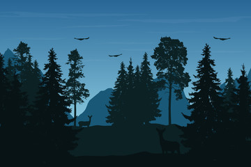 Vector illustration of mountain landscape with forest, deer and birds under blue sky