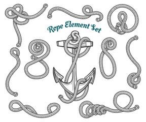 Hand drawn rope element set