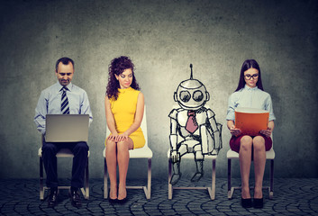 Cartoon robot sitting in line with human applicants for a job interview
