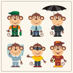 Set funny monkey in different clothing: sportsman, worker, manager, summer, autumn, sleepwear. Collection isolated monkey in clothing in cartoon style.