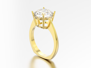 3D illustration isolated yellow gold engagement euro style ring with diamond with reflection and shadow