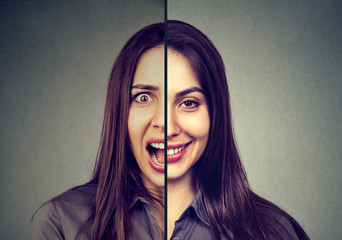Bipolar disorder and split personality concept. Woman with double face expression