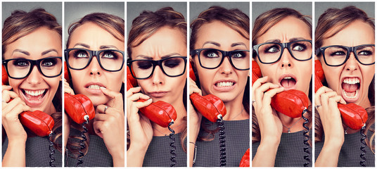 Young woman changing emotions from happy to angry while answering the phone