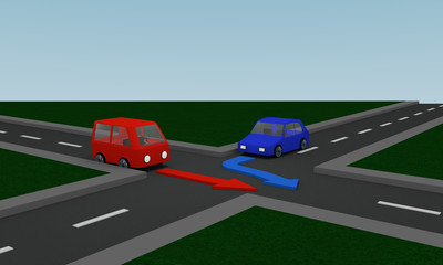 Verkehrssituation: rechts vor links an einer Kreuzung aus perspektivischer Ansicht