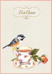 Watercolor painted teatime card with tea cup, pretty bird and rose flower
