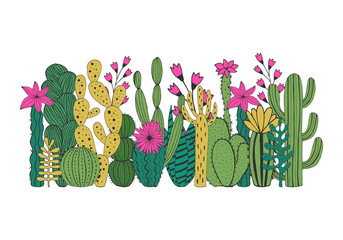 Cacti composition. Vector. Isolated.