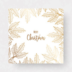 Christmas golden card with holly berry