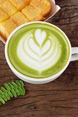 Hot green tea with matcha and toast