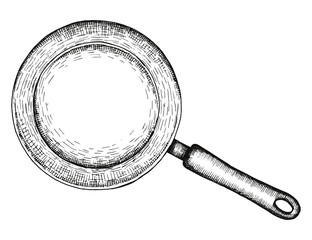 frying pan vector isolated. hand drawing
