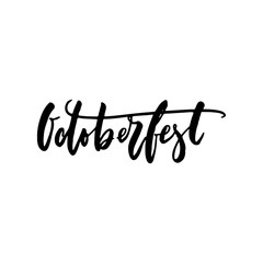 Octoberfest - hand drawn lettering quote isolated on the white background. Fun brush ink inscription for photo overlays, greeting card or t-shirt print, poster design.