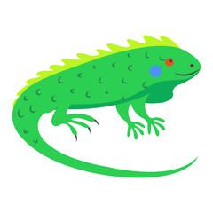 Cute Iguana Cartoon Flat Vector Sticker or Icon