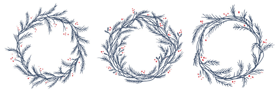 Vector set of silhouette of christmas wreath. Hand drawn branches and berries, circle frames or borders