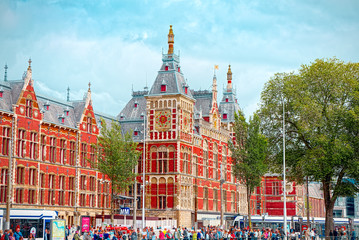Amsterdam Centraal Station. It's the Amsterdam's main railway station