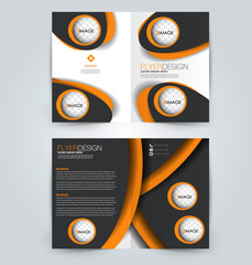 Abstract flyer design background. Brochure template. Can be used for magazine cover, business mockup, education, presentation, report. Orange and black color.