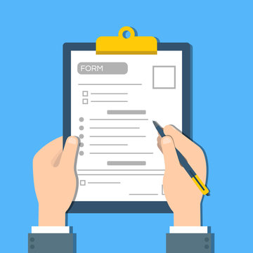 Man fills the form of document. Human hands hold the clipbord with form. Top view Vector