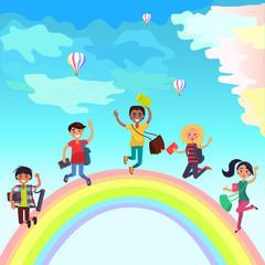 Poster de jardin Arc en ciel Happy Jumping Students on Rainbow Illustration