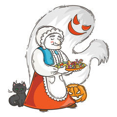Cute granny with ghost and cat near pumpkin. Halloween card or poster.