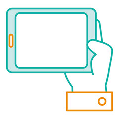 hand human with tablet device isolated icon