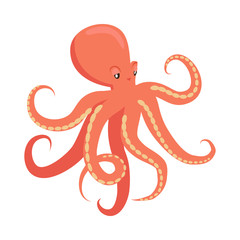 Red Octopus Cartoon Flat Vector Illustration