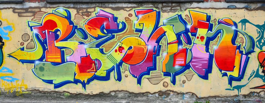 Background image with elements of graffiti pattern. Street art concept