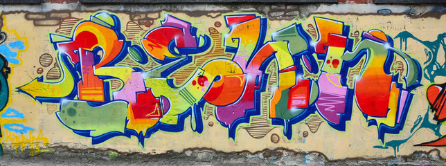 Background image with graffiti elements. Texture of the wall, painted in different colors of in the...