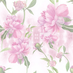 Watercolor. Peonies. Collage of flowers and buds on a watercolor background. Seamless pattern.