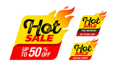 Hot Sale labels, stickers. This weekend special offer, big sale, discount up to 50% off