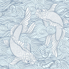 Seamless pattern with Japanese carps and traditional Japanese pa