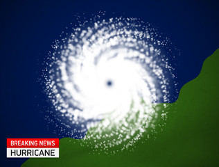 Satellite view of a hurricane vector illustration. Breaking news weather forecast template