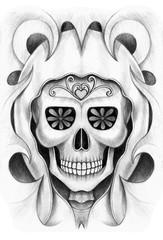Art design skull tattoo. Hand pencil drawing on paper.