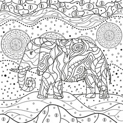 Mandala. Elephant. Hand drawn circle zendala with abstract patterns on isolation background. Design for spiritual relaxation for adults. Line art creation. Black and white illustration for coloring.
