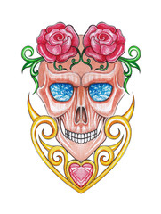 Art design vintage heart mix surreal skull. Hand painting on paper.