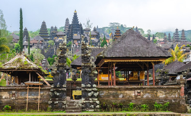 Besakih, Indonesia - September 9, 2017: Visitors explore the immense Pura Besakih Temple (Royal Temple of Besakih). the most important temple and holiest Hindu temple in Bali.