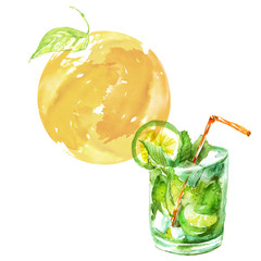 Watercolor drawing - cocktail of fruits, circe, lemon slice, lime, mint, ice. Cool drink with ice. Mojito, Logo, postcard, card, drawn by hand graphics. Vintage drawing for your design.