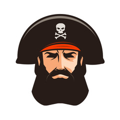 Pirate logo or label. Portrait of bearded man in cocked hat. Cartoon vector illustration