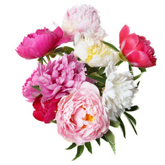 A chic bouquet of peonies isolated on white background.