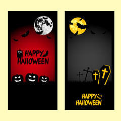 Holiday banners for Halloween. Frames with pumpkins, bats, moon and crosses on black and red background. Moon furnished by NASA. Trick or treat vector illustration