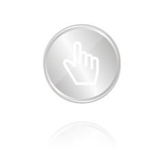 Zeigefinger - Silber Münze mit Reflektion