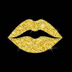 golden lips isolated
