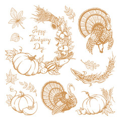 Set of hand-drawn elements for Thanksgiving Day. Vegetables, turkey, leaves