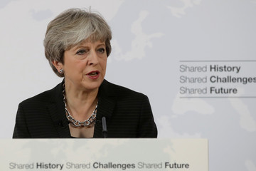 British Prime Minister Theresa May delivers her speech in Florence