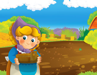 cartoon scene with happy woman working on the farm - standing and smiling / illustration for children