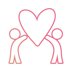 human abstract figures holding a heart icon over white background vector illustration