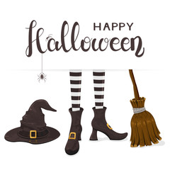 Text Happy Halloween with witches legs with hat and broom