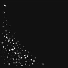 Random falling stars. Bottom left corner with random falling stars on black background. Bizarre Vector illustration.