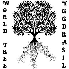 Yggdrasil vector World tree from Scandinavian mythology. Black version of big ash as a symbol of the universe isolated on the white background
