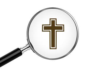 Lupe sucht/findet - Kreuz - Christentum