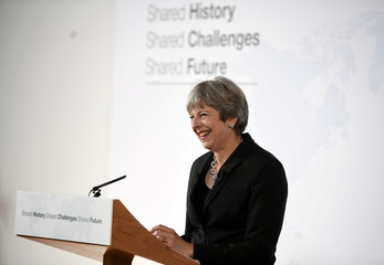Britain's Prime Minister Theresa May speaks at the Complesso Santa Maria Novella, Florence