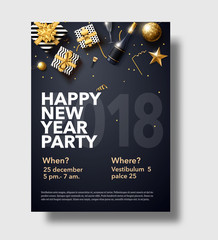 happy new year 2018 gold and black collors place for text christ