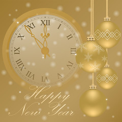 Happy New Year background with clock and Christmas balls
